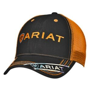 c39b56af Image is loading Ariat-Boots-Logo-Black-Orange-Western-Mesh-Back-