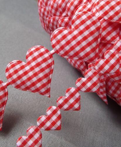 Gingham Ribbon Heart Cotton trim Love motif craft sewing rustic wedding