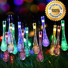 String Lights Solar Outdoor Yard Lawn Party Deck LED Water Drop  Multi color NEW