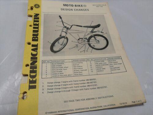 1974 Yamaha Motorbike SUPER RARE TECHNICAL SERVICE BULLETIN MOTO BIKE COPY BAR3