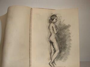 Original-Sketchbook-Drawings-Charcoal-1940s-50s-Nudes-Portraits-Art-Study