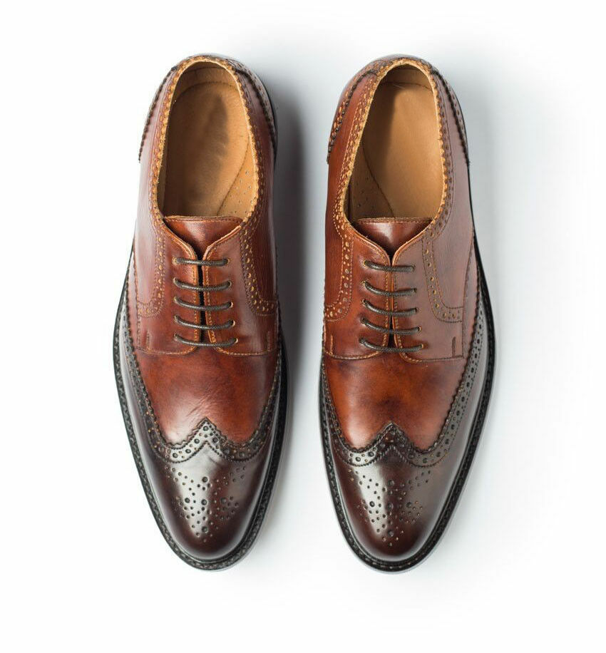 MENS HANDMADE BROWN FORMAL LACES UP DRESS PURE REAL LEATHER SHOES FOR MEN