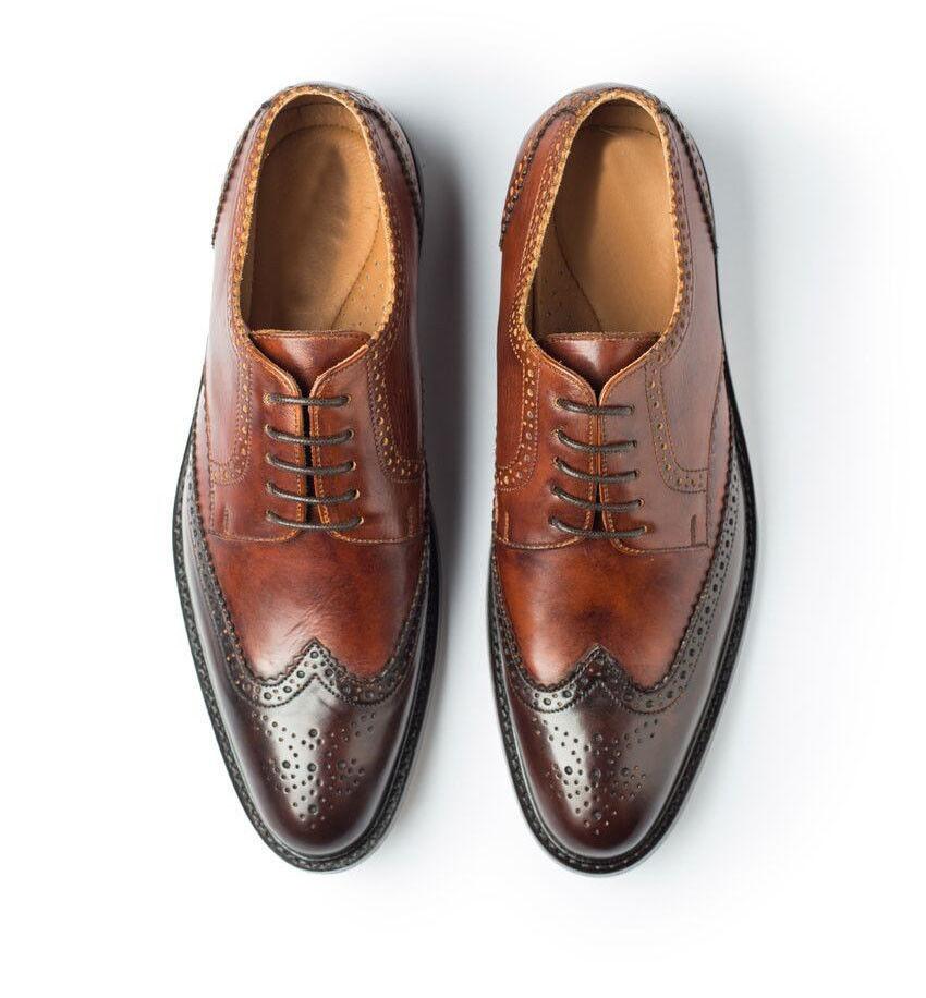 Da Uomo Fatto A Mano Marrone PURA Lacci Formale Vestito FINO PURA Marrone vera pelle scarpe per uomo a2d8a8