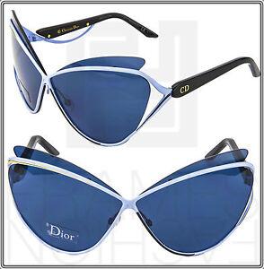 CHRISTIAN-DIOR-AUDACIEUSE-1-Black-Gold-Blue-Cat-Eye-Sunglasses-Runway-Women