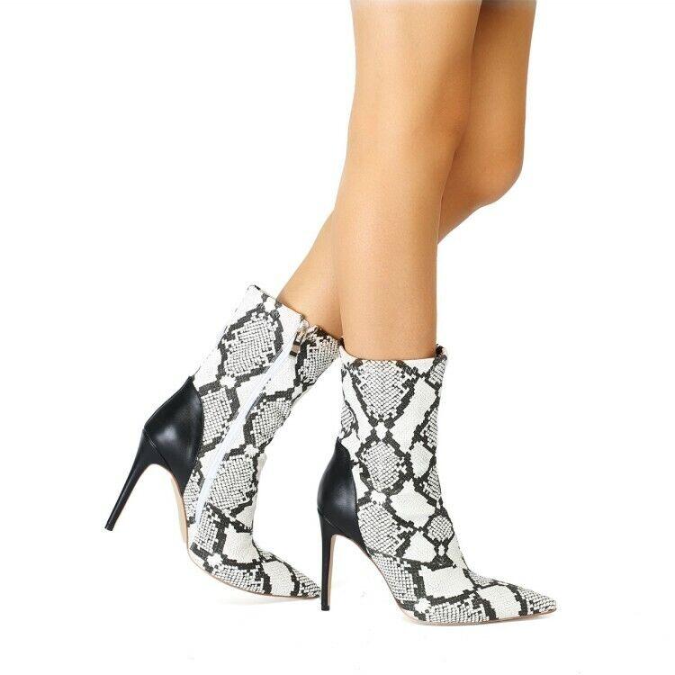 Mujer Vestido Serpiente Patrón mitad de la Pantorrilla botas Zapatos de tacones altos en Colors vivos a tacones de aguja