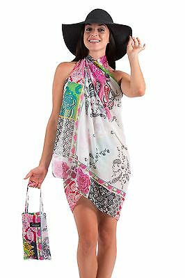 Spirituelle Cotton Beach Sarong with Matching Carry Bag - Mystic Garden