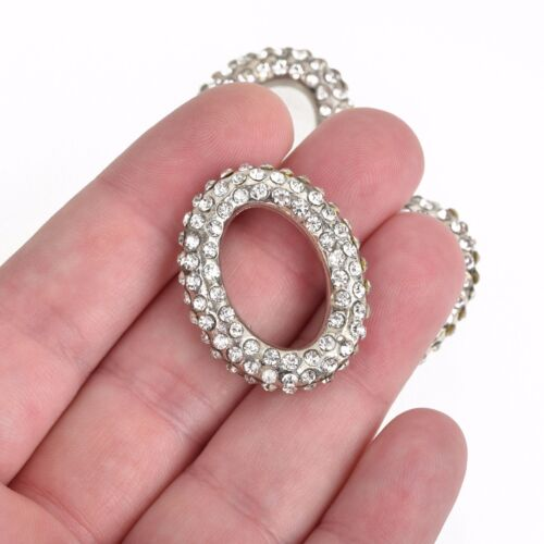 1 Rhinestone OVAL CONNECTOR Pendant Charm Holders silver ring charm 32mm chs3481