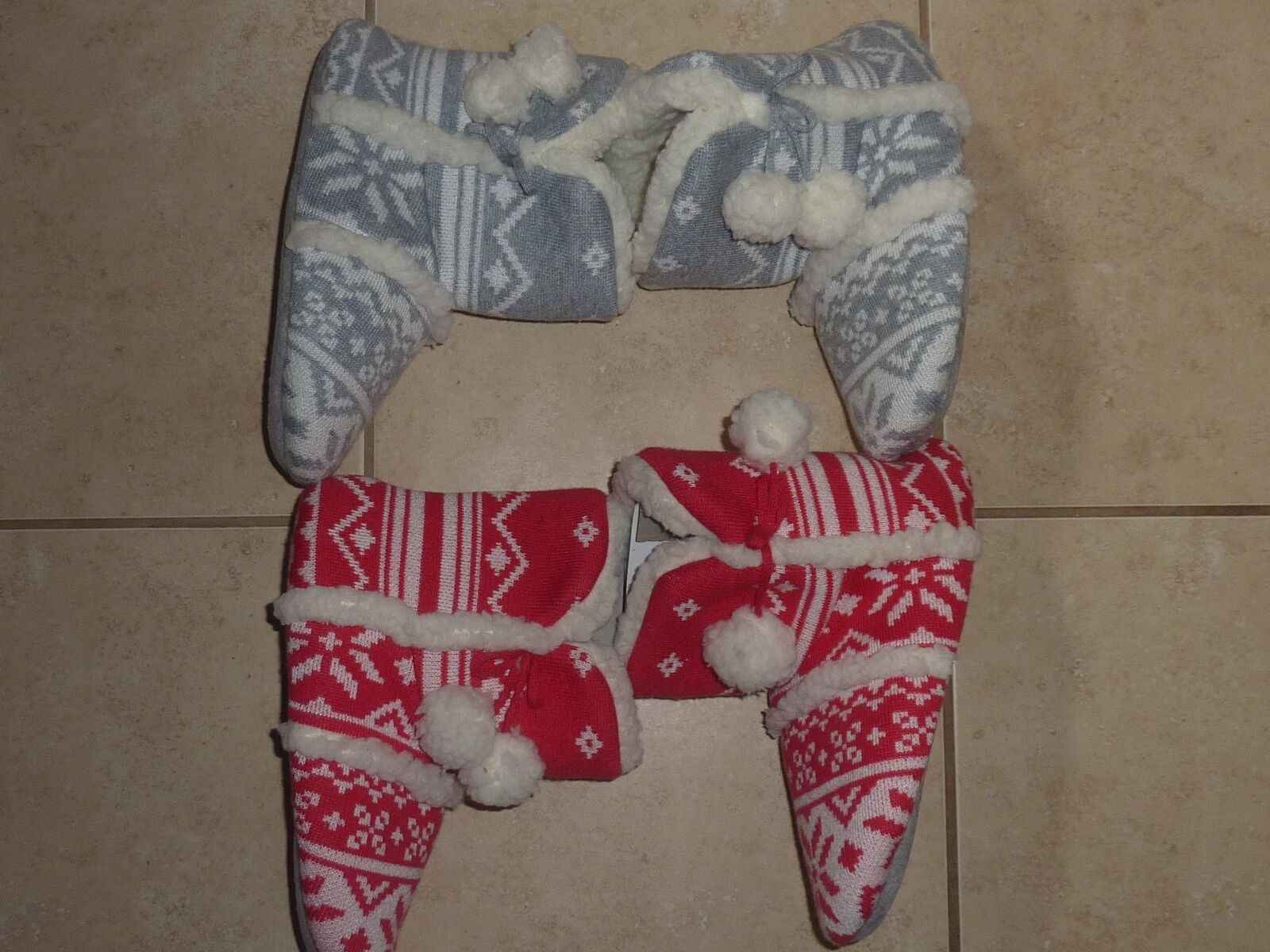 VICTORIAS SECRET PINK SLIPPERS/BOOTI<wbr/>ES   RED/WHITE OR GRAY/WHITE NWT