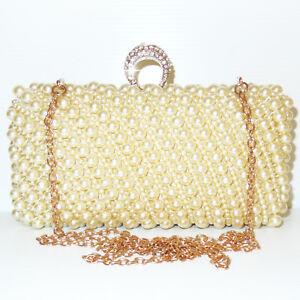 3843a31a26 Caricamento dell'immagine in corso Pochette-Cerimonia-perle -borsa-donna-borsetta-elegante-oro-