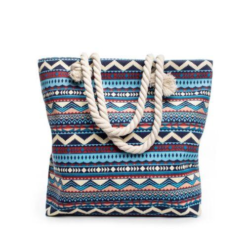 Strandtasche Handtasche Strand Tasche Damentasche Shopper Vintage Blau Retro NEU