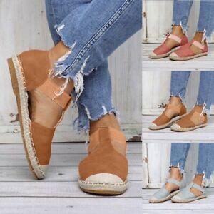 Women-Ladies-Fashion-Retro-Low-Flat-Sandals-Round-Toe-Elastic-Casual-Shoes-Size