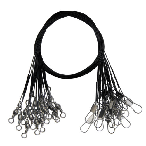 100pcs Stainless Steel Fishing Wire Leader Swivel Snap Rig Trace Lure Black 30cm