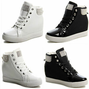 Womens Ladies Sneaker Hidden Wedge Heel Lace up Diamante  Trainers Shoes Size