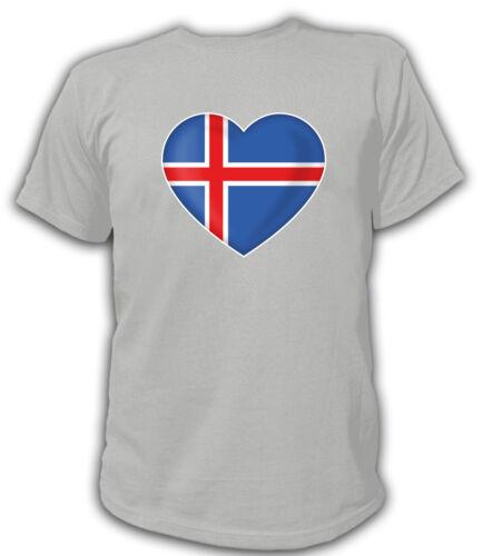 T-Shirt Herz Heart FAN FLAGGE FAHNE  ICELAND Reykjavík Island Vulkane Fußball So