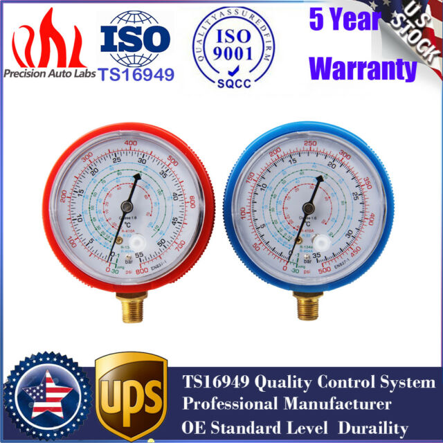 2Pcs High Low Refrigerant Pressure Gauge PSI KPA Replace For R410A R134A R22