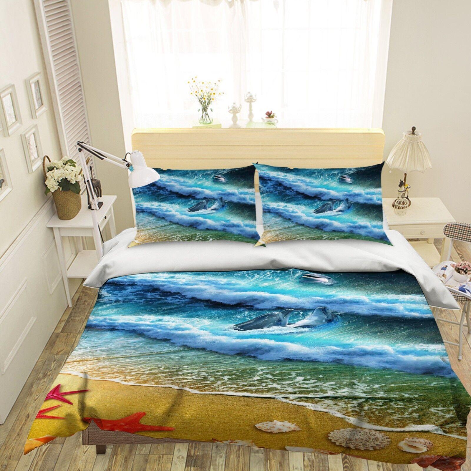 3D Strand Drei Delphine 45 Bett Kissenbezüge steppen Duvet Decken Set Single DE