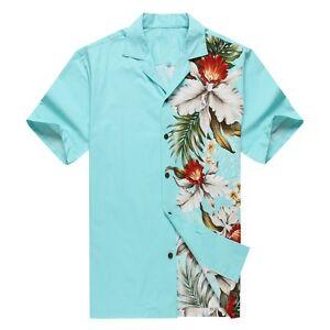 Made-in-Hawaii-Men-Hawaiian-Aloha-Shirt-Luau-Cruise-Party-Side-Orchid-Turquoise