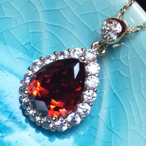 """Red Ruby Round Diamond Halo Pendant Necklace 14K Yellow Gold Jewelry 18/"""""""