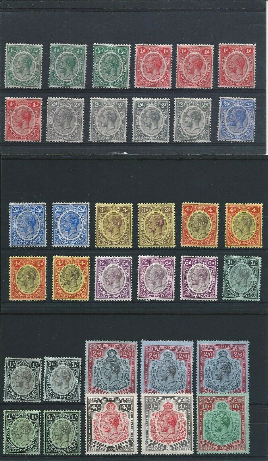 NYASALAND 1913-21 SET TO 10s WITH SHADES (34) ALL MM SG 83/96 CAT £425+