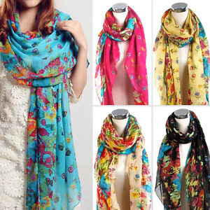 Elegant-Fashion-Beautiful-Womens-Ladies-Floral-Flower-Scarf-Shawl-Wraps