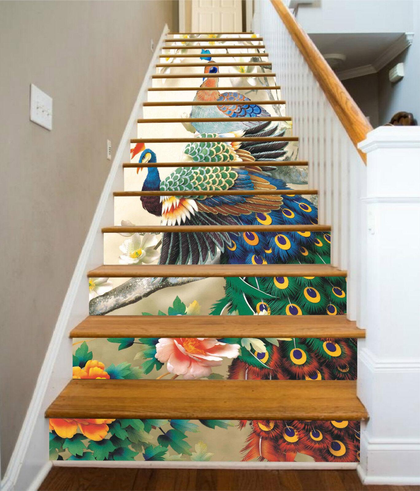 3D Pfau Blume 996 Stair Risers Dekoration Fototapete Vinyl Aufkleber Tapete DE