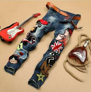 Fashion Men's Slim Fit Hip-Hop Ripped Denim Jeans Skinny Pants Washed Trousers