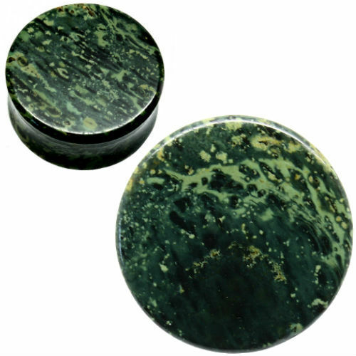 PAIR-GREEN EYED JASPER-Organic Flesh Tunnels- Stone Ear Plugs-Ear Gauges-