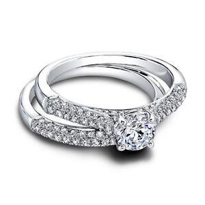 1-15Ct-Round-Cut-Real-Diamond-Engagement-Band-Set-14K-White-Gold-Ring-Size-5-6-7