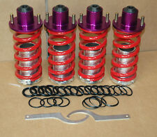 RED RACING SUSPENSION COILOVER LOWERING SPRING ALUMINUM SLEEVE+ PURPLE TOP HATS