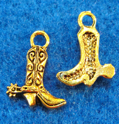 20Pcs Tibetan Antique Gold Cowboy Western BOOT Charms Pendants Ear Drops W69