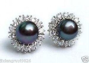 8-9mm-Black-Natural-Pearl-Earring-Grade