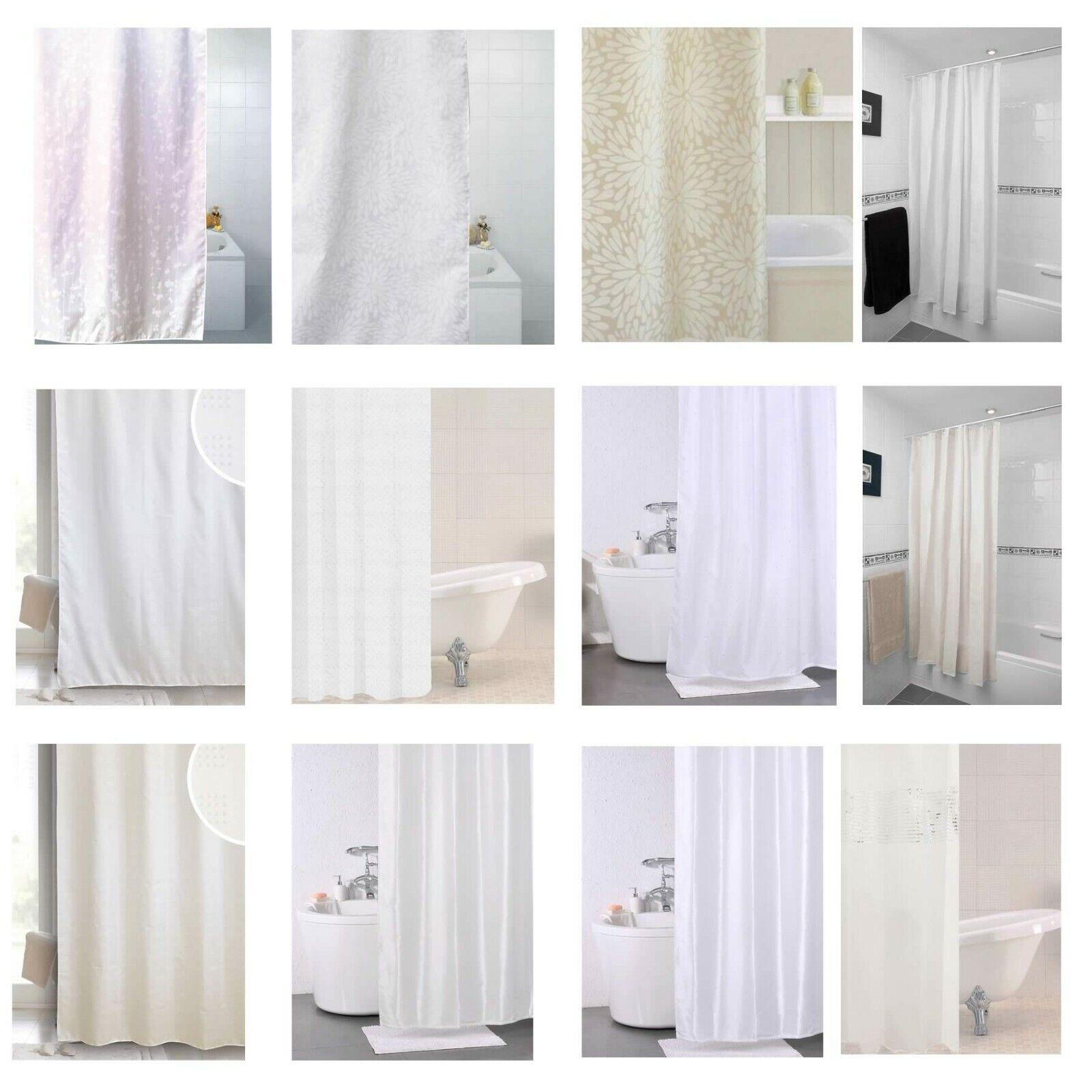 Shower Curtains White Cream Shower Curtain 180cm X 180cm Various Designs New