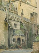 Vintage French Watercolor, Saint-Ronan Church in Locronan Brittany, Signed, 1933