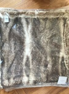 Pottery Barn Faux Fur Pillow Cover Caramel Ombre 26 Sq Gathered