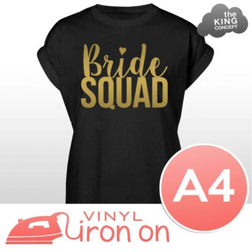 Mariée Squad Iron on Vinyle Autocollants Pour T-shirts Tops Tees À faire soi-même Hen Night Party