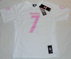 Image is loading PITTSBURGH-STEELERS-BEN-ROETHLISBERGER-REPLICA-JERSEY -WHITE-PINK- 42c90553c