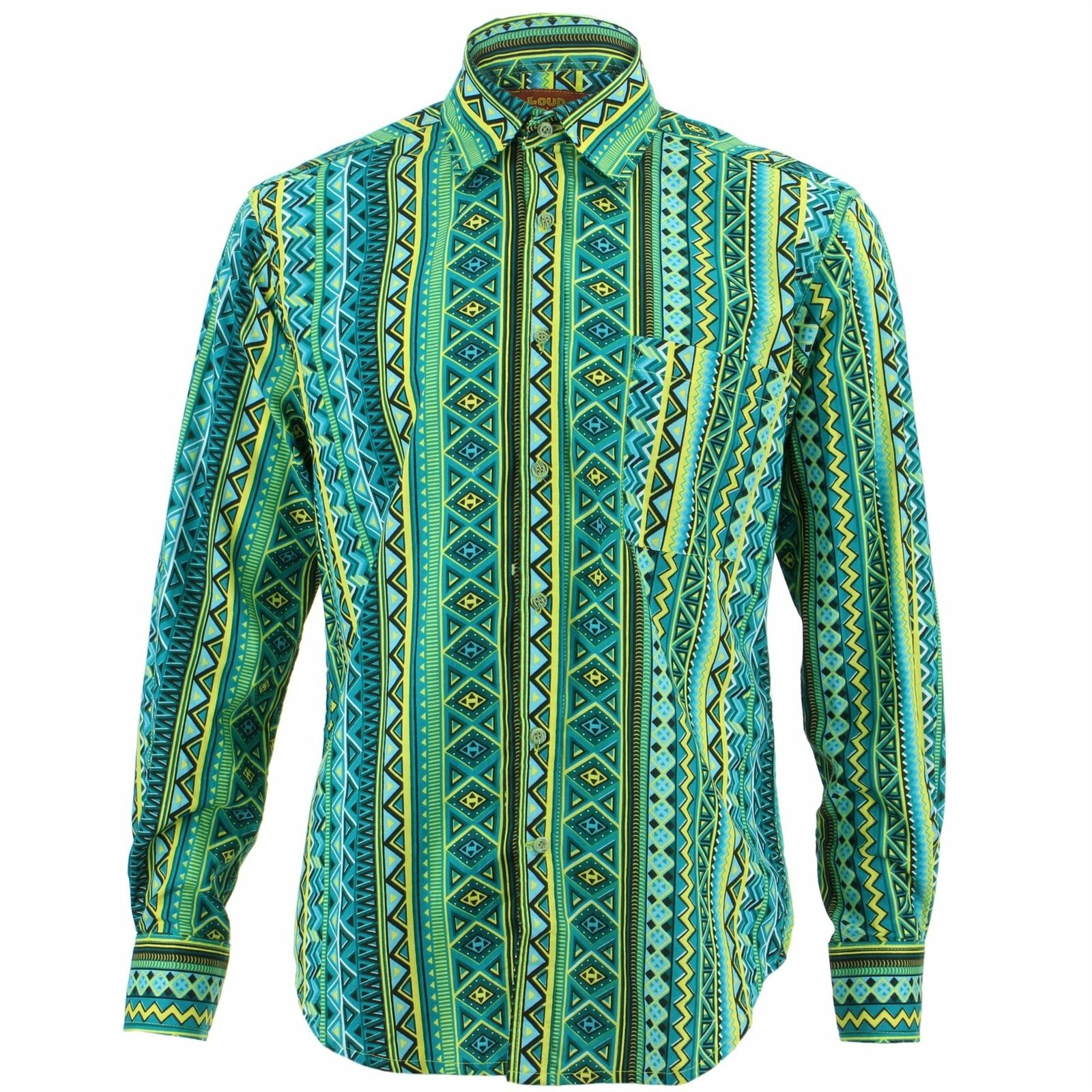 Mens Shirt Loud Originals REGULAR FIT Tribal Green Retro Psychedelic Fancy