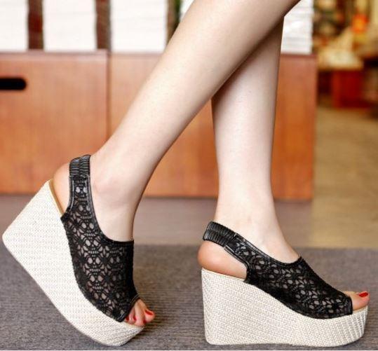Sandalias de mujer negro tipo encaje cuña 10 cm elegante elegante cm y cómodo 9227 6a7b2c