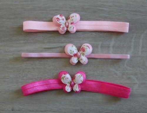 Baby Stirnband Schmetterling rosa Haarband Kopfband Geburtstag Fest Mädchen