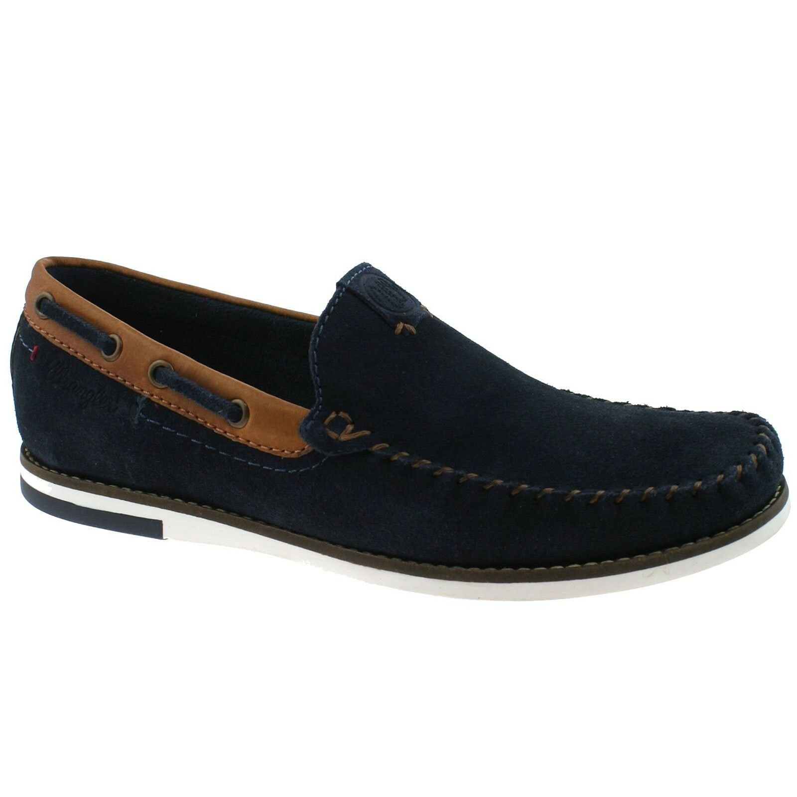 WRANGLER Sharky Mens Suede Leather Loafer shoes Slip Up On Casual Navy bluee