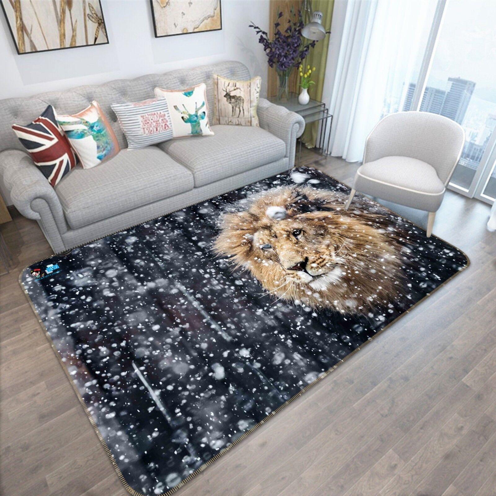 3D Snowflake Lion 51 Non Slip Rug Mat Room Mat Quality Elegant Photo Carpet AU