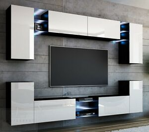 wohnwand galaxy wei hochglanz schwarz led beleuchtung concept orion mediawand ebay. Black Bedroom Furniture Sets. Home Design Ideas