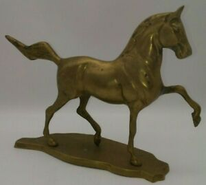 BRASS-Horse-Statue-Sculpture-Prancing-Trotting-Equestrian-10-034-Lx7-5-034-T-VTG-HEAVY