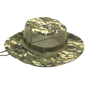 Men Bucket Boonie Sun Hat Camo Wide Brim Outdoor Fishing Hunting Cap ... 5c869739bc62