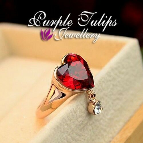 18CT Rose Gold Plated Elegant Ruby Heart Ring Made With SWAROVSKI Crystals