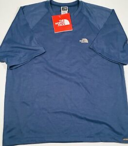 THE-NORTH-FACE-S-S-Vaporwick-Mens-T-Shirt-L-sz-Large-Tee-Bay-Blue-V-Neck-NEW-NWT