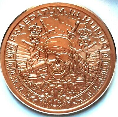 Other Bullion Coins & Paper Money Glorious 2019 Silver Shield  Pirates Plunder 2 Oz Copper Round Mini-mintage Only 444made Easy To Lubricate