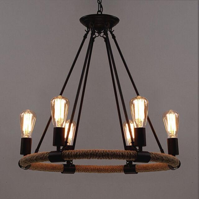 6 Lights Rustic Chandelier Pendant Light Rope Restoration Hardware Hanging