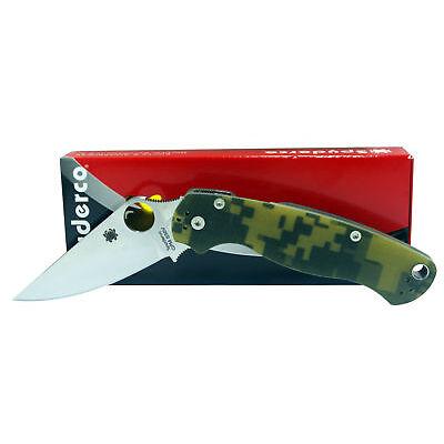 Spyderco Paramilitary 2 Plain Blade Camo Handles Folding Knife C81GPCMO2 NEW