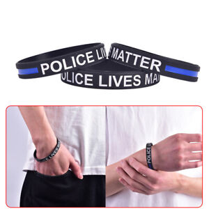 Fashion Style Police Lives Matter Wristband Black Thin Blue Line Rubber Brace/_P1